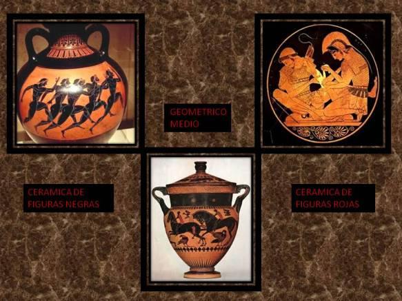 Ceramica griega de figuras negras, ceramica de figuras rojas, geometrico medio.