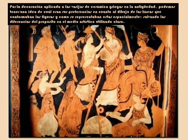 Composicion griega en vasija de ceramica