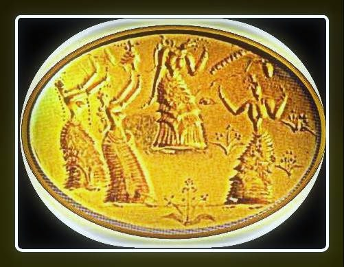 detalle del relieve sobre anillo de oro Minoico