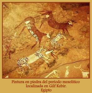 Pintura en piedra localizada en Gilf Kebir. Egipto