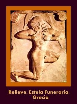 relieve en estela funeraria griega