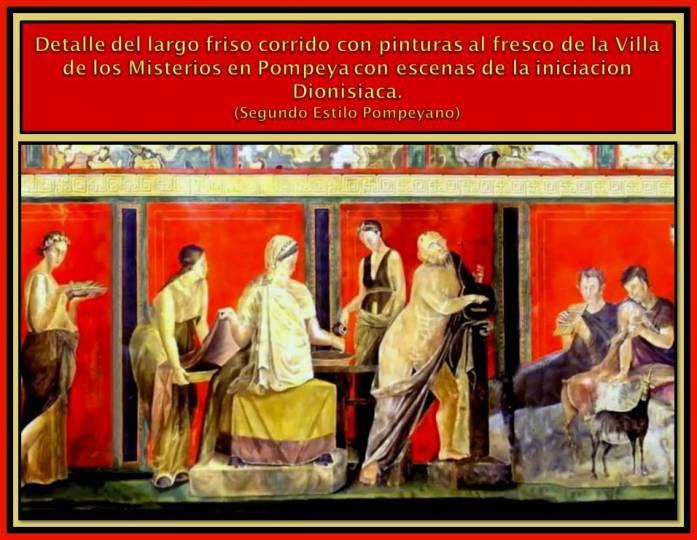 Detalle de escena de friso de la Iniciacion Dionisiaca.