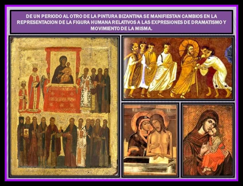 dramatismo y movimiento en los periodos de la pintura Bizantina