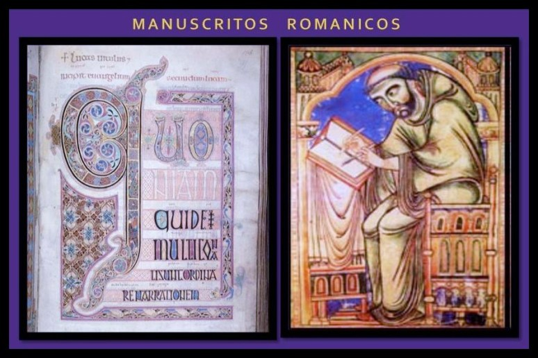manuscritos romanicos con monje