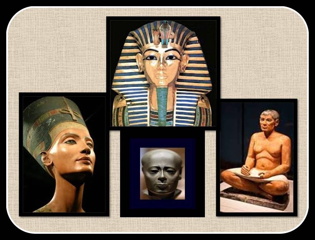 Famosas esculturas Egipcias. imagenes de Nefertitis, Tutankamon, El Escriba, y un Sacerdote.