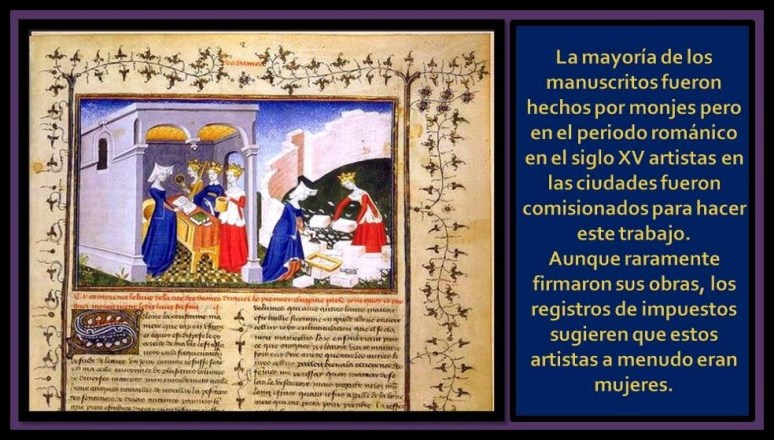 Mujeres trabajando en los manuscritos