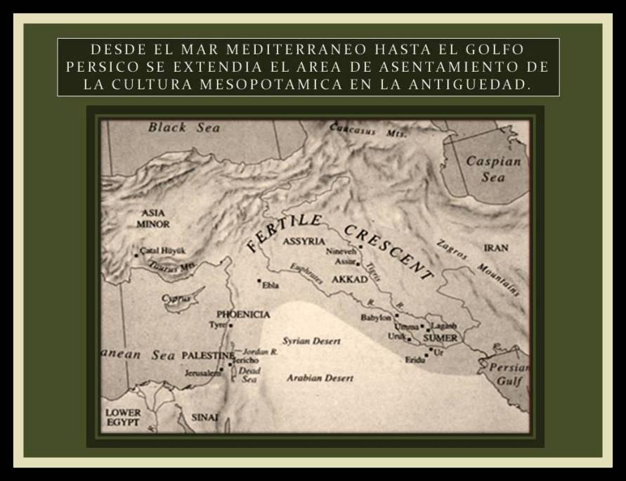 mapa de la zona de Mesopotamia en la antiguedad
