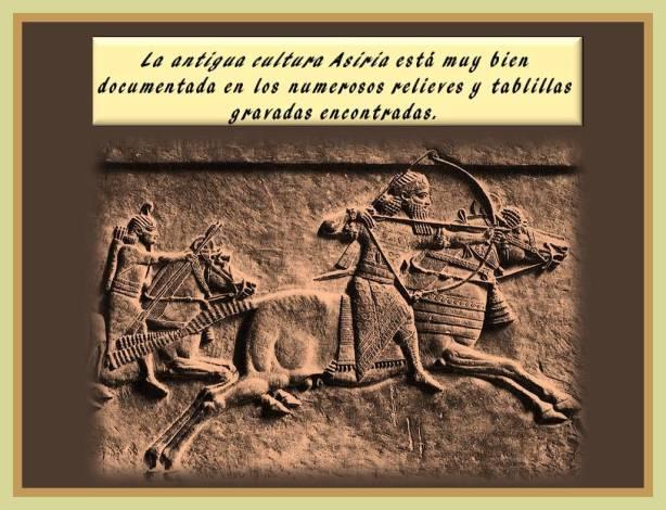 Relieve con guerreros asirios en accion militar