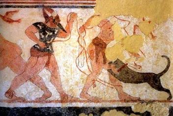 Fersu y su victima. Tumba de Augurs finales del siglo VI. A.C Tarquinia. Italia.