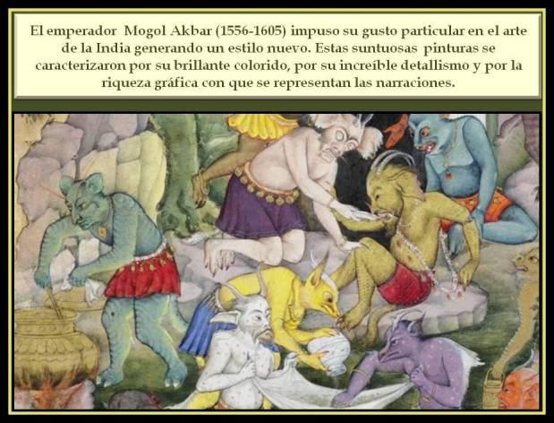 Detalle de pintura del periodo Mogol con escena de demonios.
