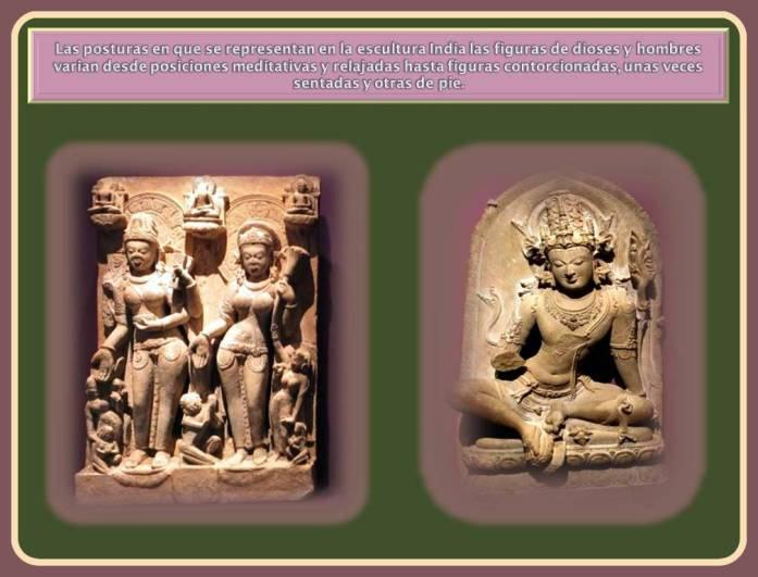 Diferentes posturas de las esculturas de La India.