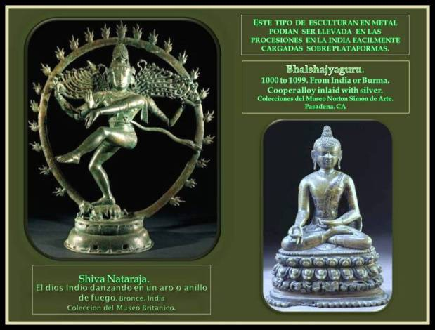 Esculturas de La India en metal que son factibles de ser cargadas en proseciones