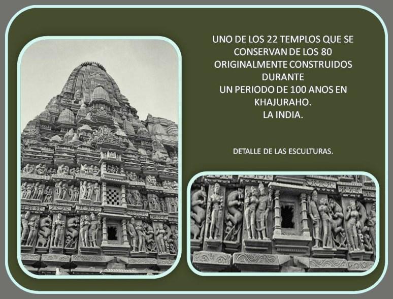 exterior y detalle de la esculturas de la fachada exterior de templo en Khahuraho