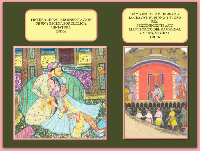 miniatura-india-mostrando-escena-folclorica-y-otra-con-fragmento-de-manuscrito-del-ramayana