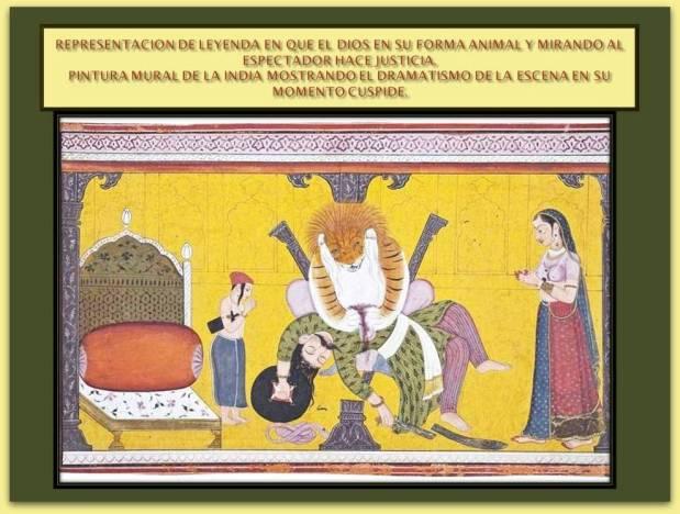 Pintura de la India con representacion de una leyenda con el dios haciendo justicia en su forma animal.