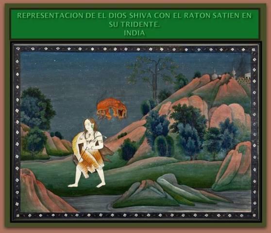 Pintura que muestra al dios Shiva en su forma humana sosteniendo al demonio raton Satien en su tridente.