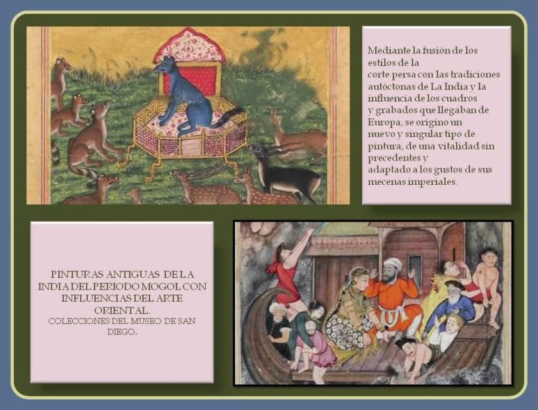 Pinturas del periodo Mogol con influencias orientales.