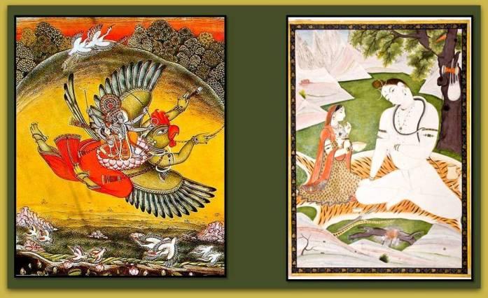 Representacion de escenas de tema religioso en pinturas de La India.