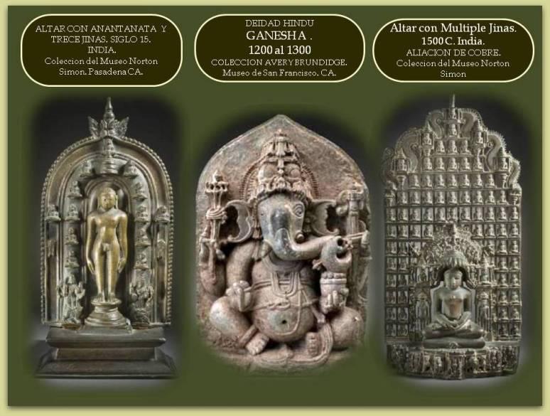 Esculturas de La India correspondientes al Hinduismo y Jainismo