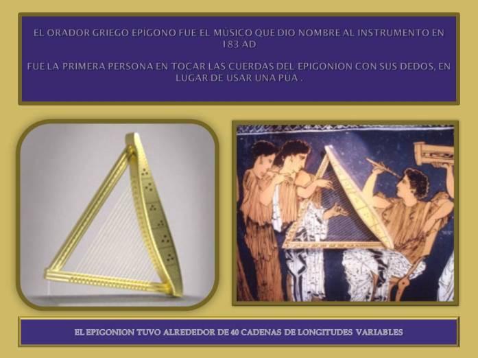 El Epigonion instrumento de origen griego.