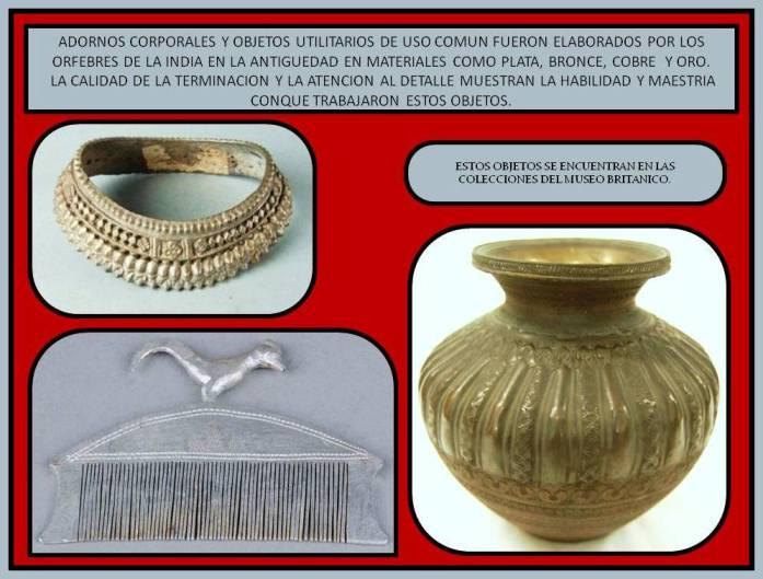 bjetos en metal de uso coumun en la India en la antiguedad