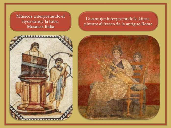 Ilustraciones en mosaicos y pintura de Pompeya con musicos interpretando instrumentos.
