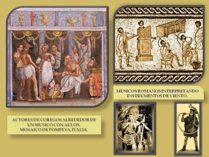Ilustracion de musicos interpretando instrumentos en Italia en la antiguedad