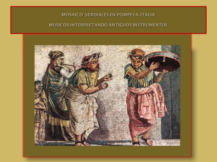mosaico ilustrando a musicos amenizando en las calles en Italia en la antiguedad.