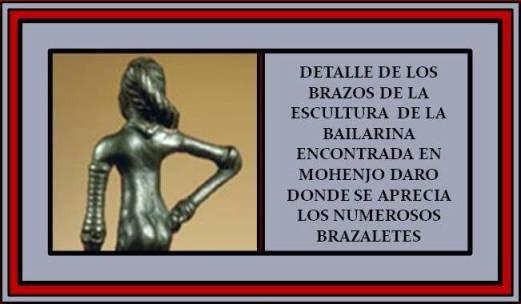 Detalle de los brazos de la escultura de la bailarina de Mohenjo Daro