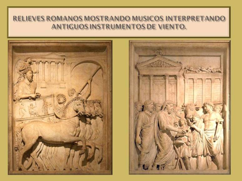 Relieves que muestran musicos interpretando instrumentos en Italia en la antiguedad.