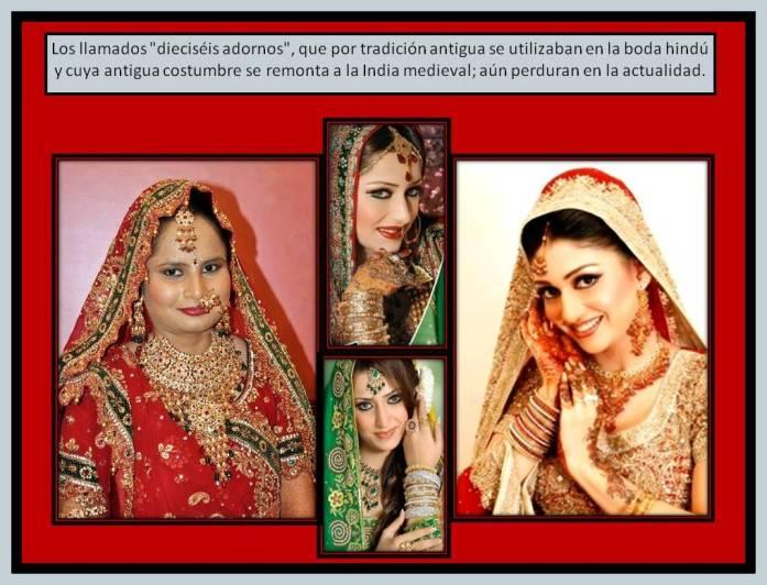 Novias usando joyas y adornos tipicos de La India