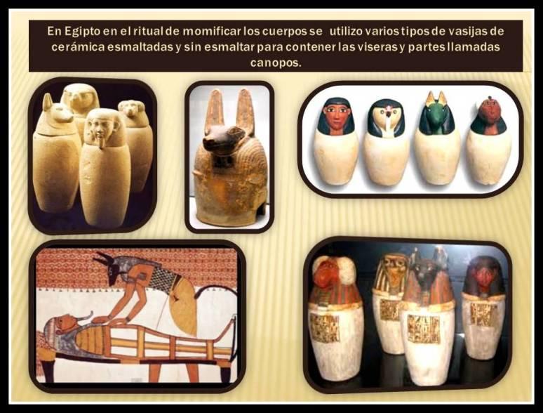 Canopos de ceramica usados en el proceso de momificacion.
