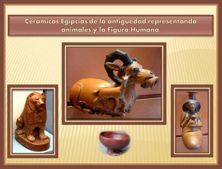 Ceramica de Egipto con figura de animales y figura humana