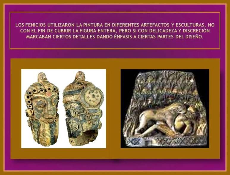 enfasis con color en artefactos fenicios.