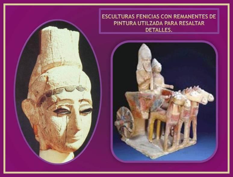esculturas fenicias de bulto redondo con restos de pinturas