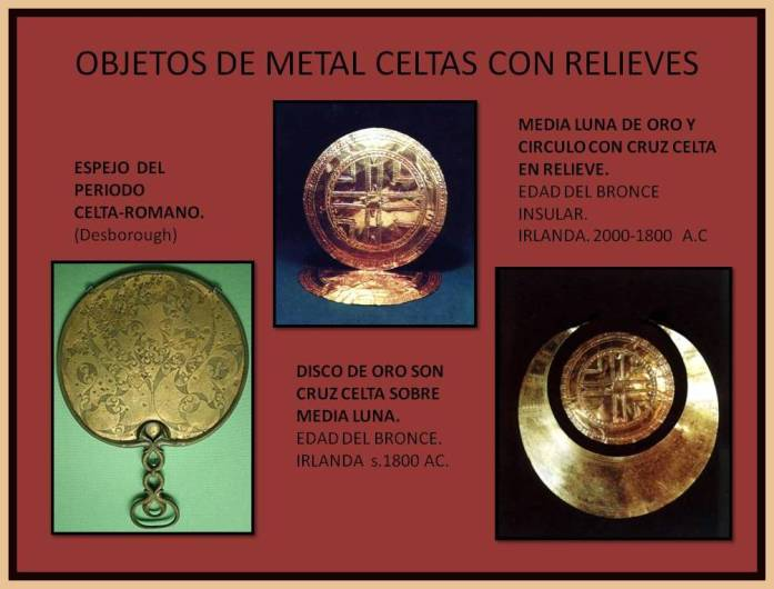 Objetos de metal celtas con relieves decorativos.