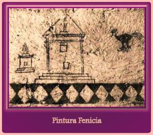 pintura mural fenicia en tumba.
