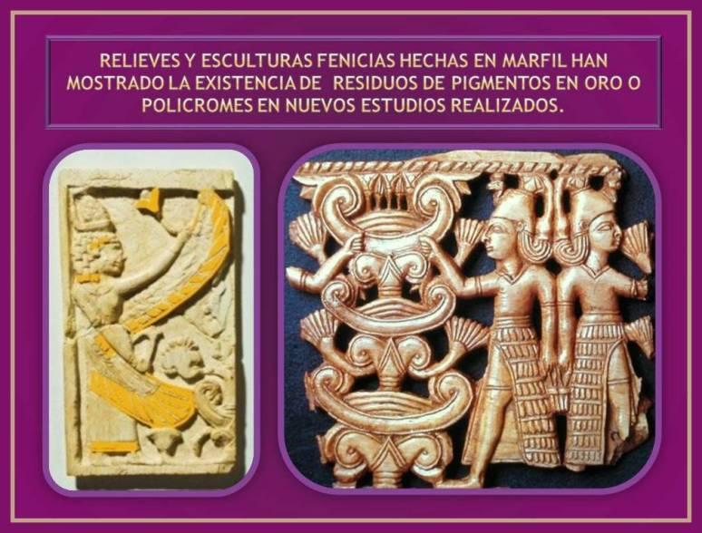 relieves en marfil fenicios con pigmentos de pintura
