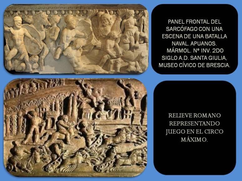 Relieve romano de batalla naval y juego en el circo.