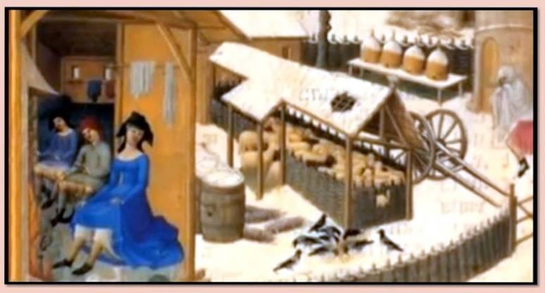 Detalle de ilustracion del manuscrito Las Ricas Horas de Jean de Berre. Por los Hermanos Limbourg.
