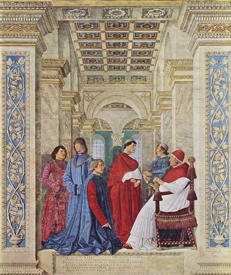 Melozzo da Forlì. Fresco. Sixto IV nombra a Bartolomeo Platina prefecto de la Biblioteca Vaticana. 1470.