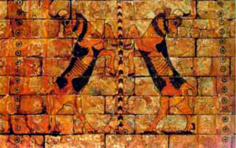 Pintura asiria representando animales