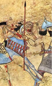 Pintura Asiria en pared del palacio Til - Basib