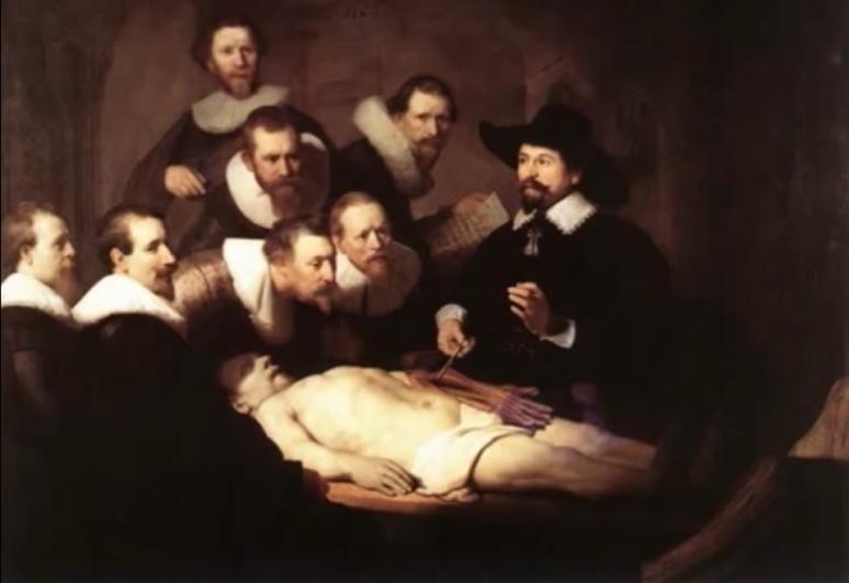 Leccion de Anatomia  del Dr. Nicolaes Tulp.1632 . Pintura al oleo sobre canvas por Rembrandt.