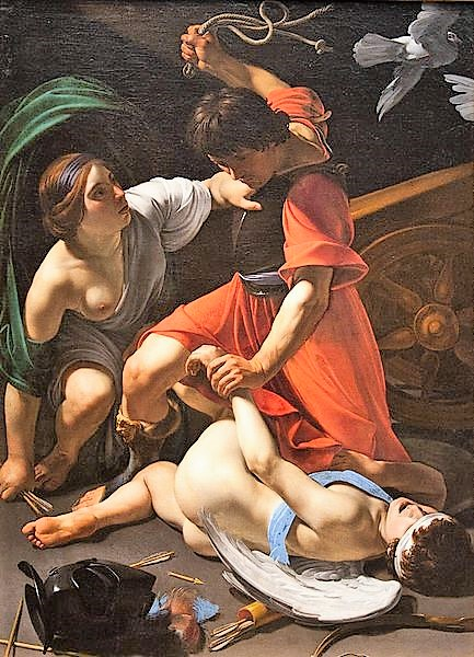 Manfredi Marte castigando a Cupido.