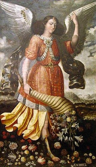 Arcangel Gabriel realizado por Isabel Santiago hija del pintor Jose Santiago.
