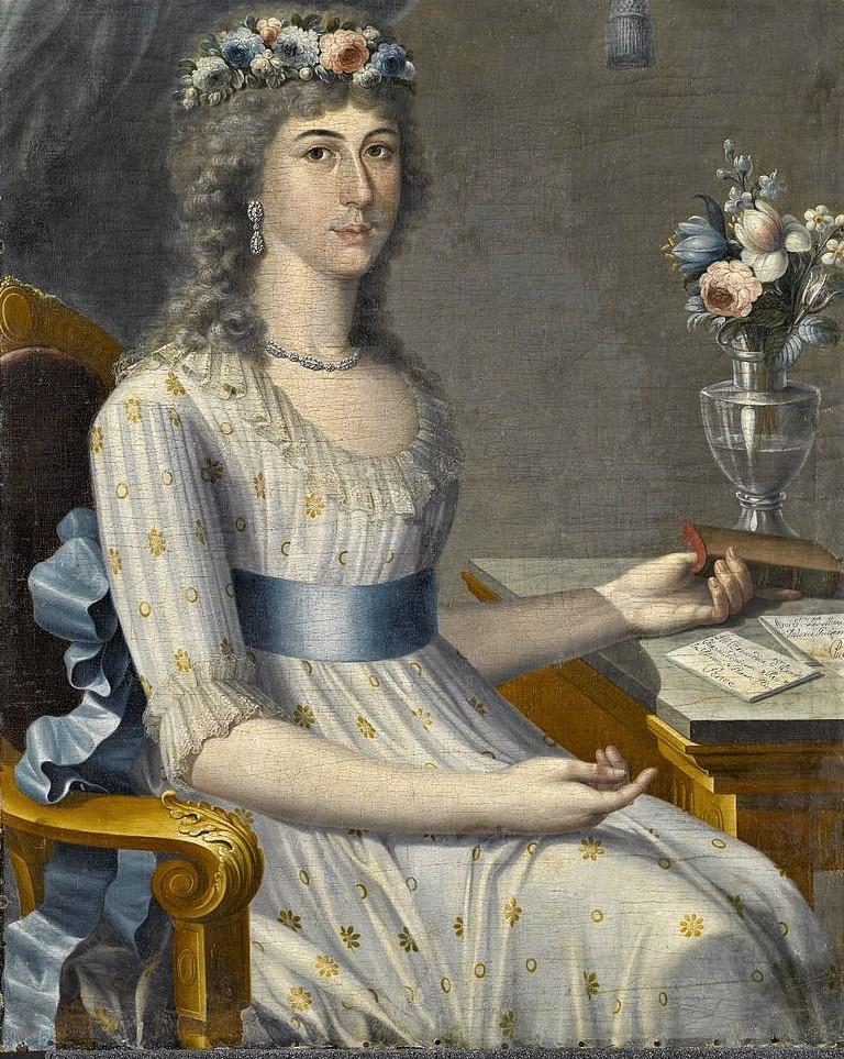 """""""Doña María de los Dolores Gutiérrez del Mazo y Pérez"""" (ca. 1796). Realizado por el pintor de Puerto Rico. José Campeche."""