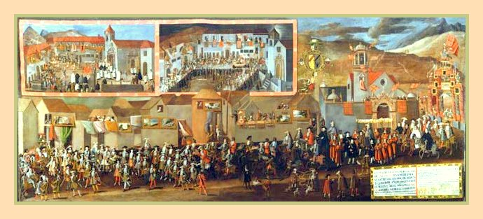 Entrada del Virrey Arsobispo Morcillo. por el pintor Melchor Perez Holguin.